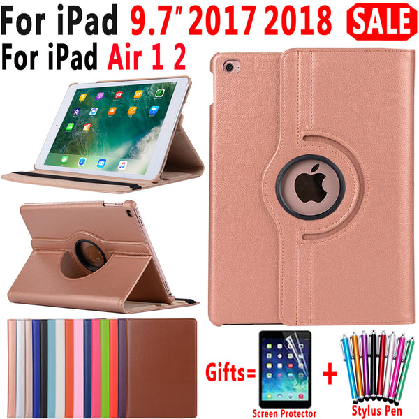 360 Degree Rotating Leather Smart Cover Case for Apple iPad Air 1 Air 2 5 6 New iPad 9.7 2017 2018 A1822 A1823 A1893 Coque Funda