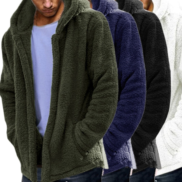 Autumn Winter Man Soft Ligth Coats Male Double-Sided Plush Coat Men's Leisure Long Sections Outwear Hoodie Jackets Casual Loose
