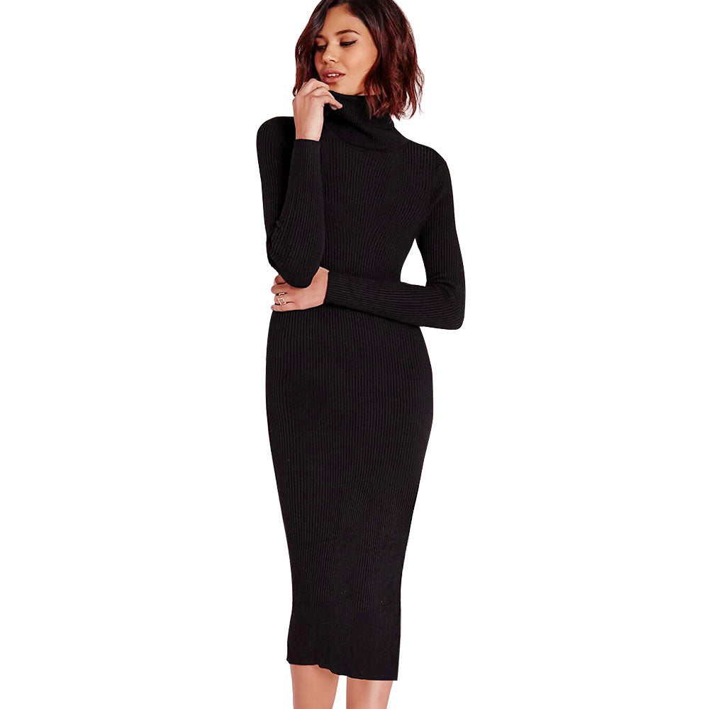 Gamiss Women Autumn Winter Sweater Knitted Dresses Slim Elastic Turtleneck Long Sleeve Sexy Lady Bodycon Robe Dresses Vestidos