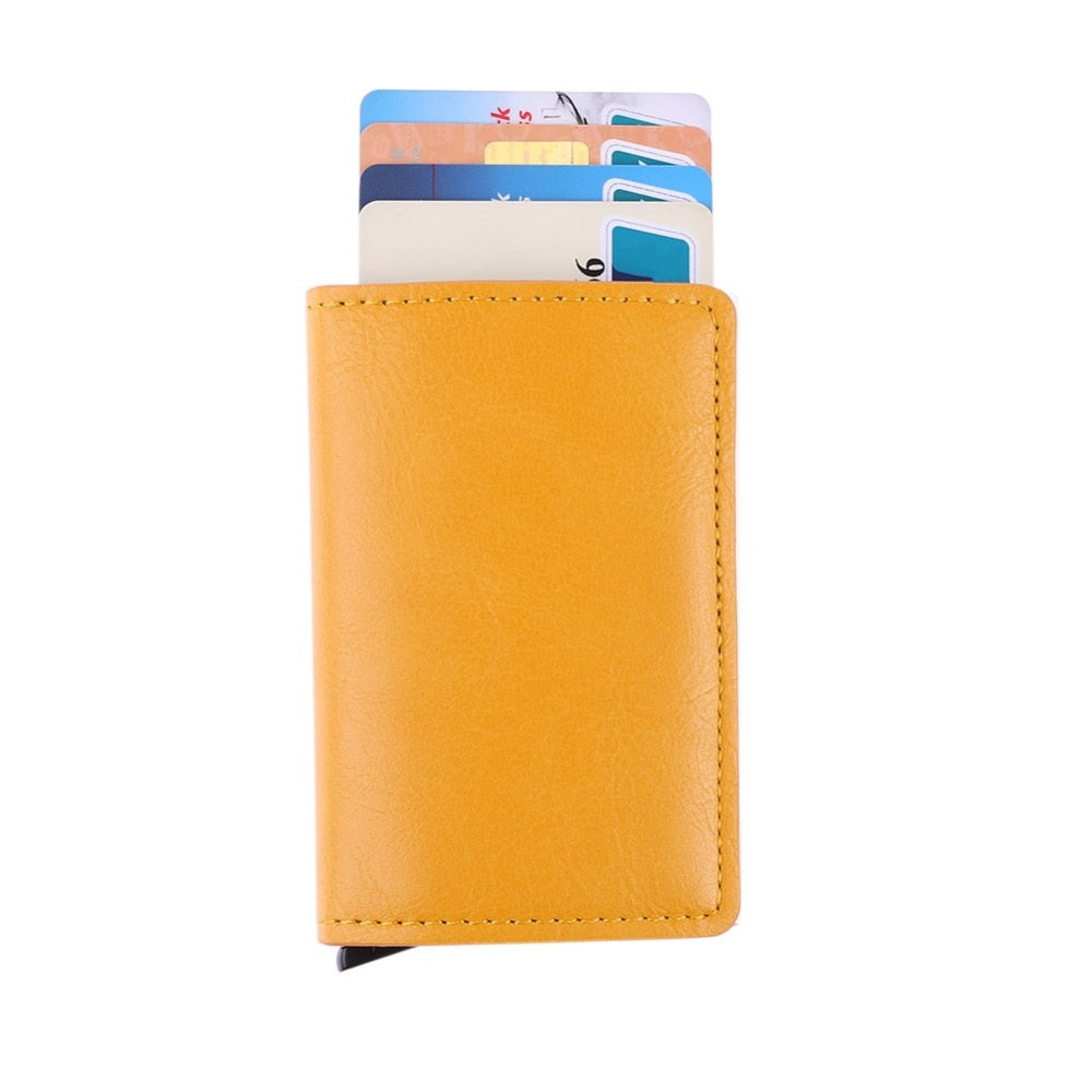 Male Metal Card Holder RFID Aluminium Alloy Credit Card Holder PU Leather Wallet Antitheft Men Automatic Pop Up RFID Wallet 2018