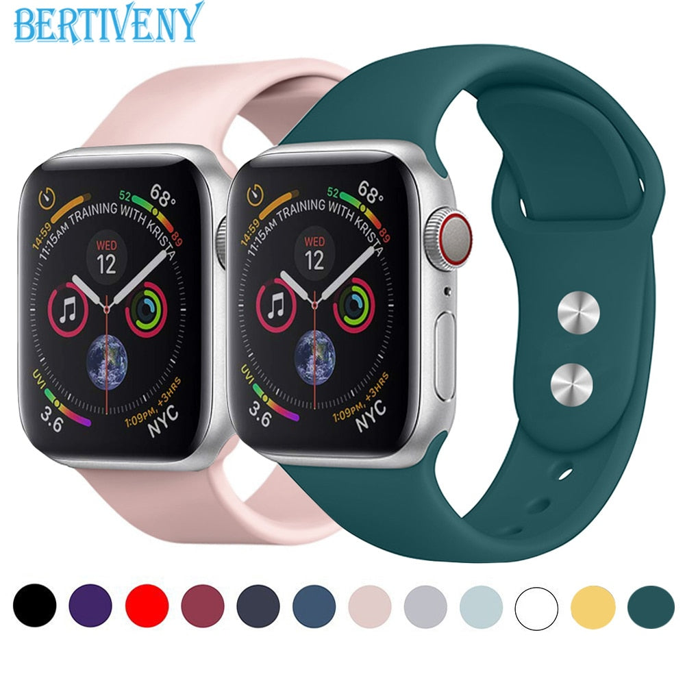 Silicone band for Apple Watch 38mm 42mm 40mm 44mm Replacement Sport Strap Rubber Wristband for iwatch series 4 3 2 1 watchband