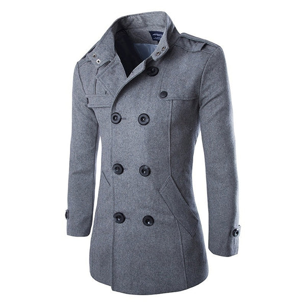 3XL Mens Autumn Winter Warm Wool Blends Male Fashion Casual Woolen Jacket Coat Double Breasted Outerwear Coat Male Plus Size
