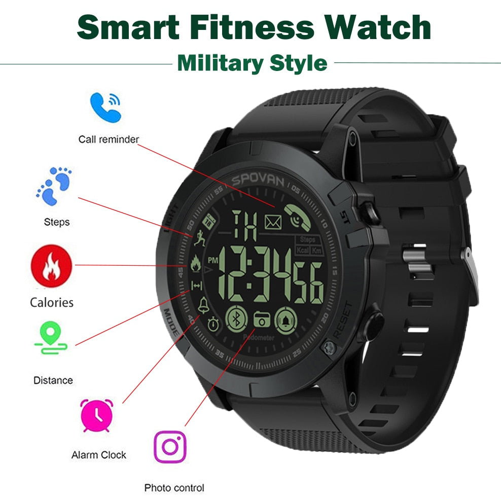 Pop Men Smart Watch Military Style Fitness Tracker Pedometer smartwatch Remote Camera Grade Super Tough Smart Watches Pk T1 Tact