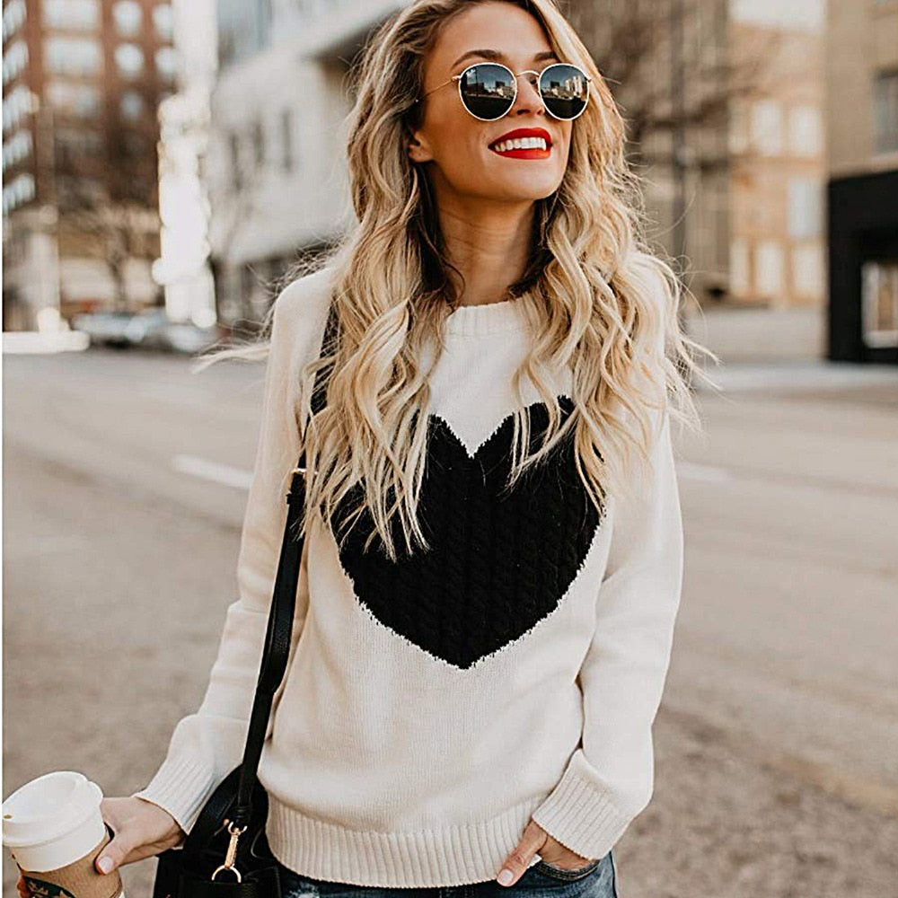 Plus Size Winter Women's Sweater Warm Casual Clothes For Lady's Long Sleeve Pullovers Sweater Pull Femme Hiver Heart Pattern