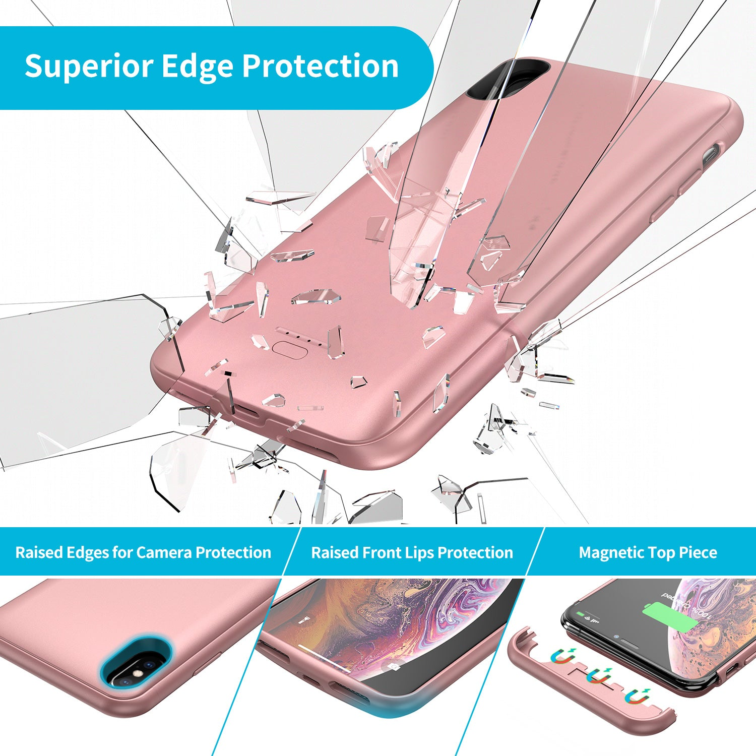 Battery Case for iPhone XS Max, 5000mAh Portable Protective
