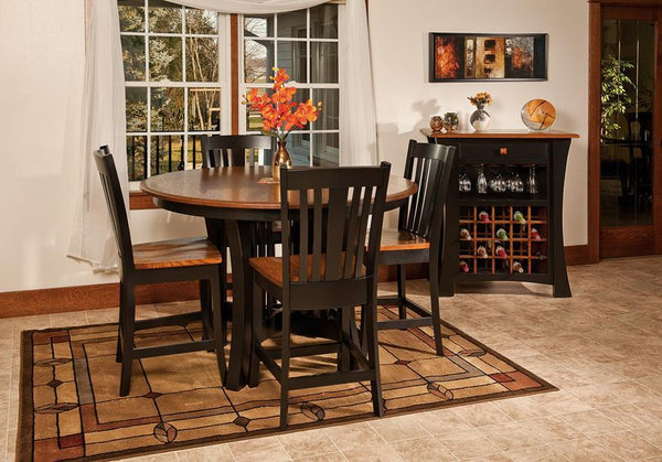 Amish pub table and barstools