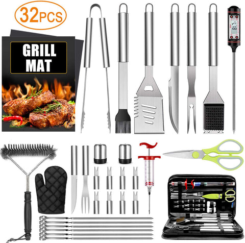 Premium Stainless Steel 32 Piece BBQ tool Set Pellet Grill Bros Give Away