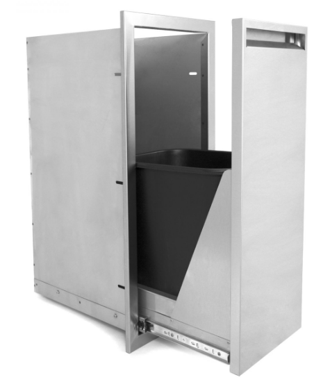 EPIC 350 Series 13-Inch Roll-Out Stainless Steel Narrow Trash Bin