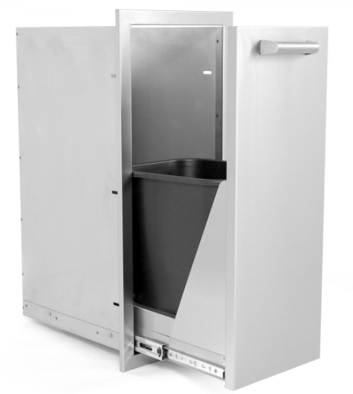 EPIC 350H Series 13-Inch Roll-Out Stainless Steel Narrow Trash Bin