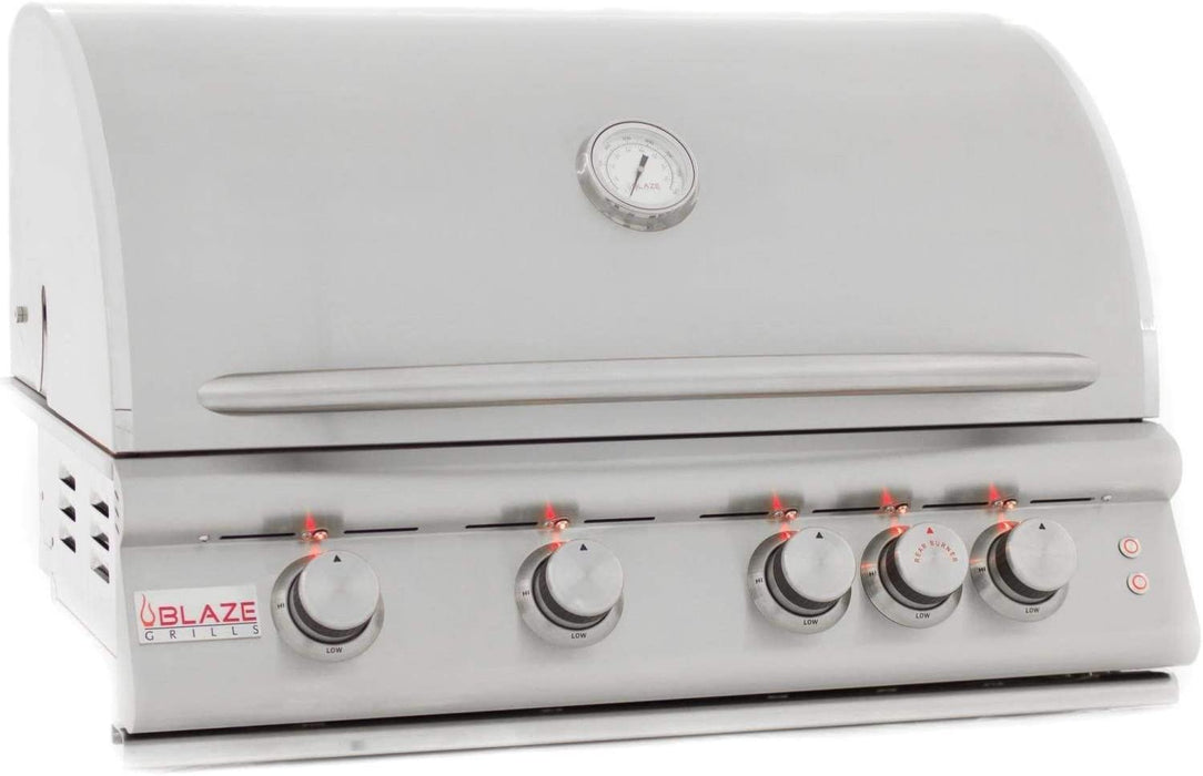 Blaze 32-Inch 4-Burner LTE Marine Grade Built-In Natural Gas Grill With Rear Infrared Burner & Grill Lights