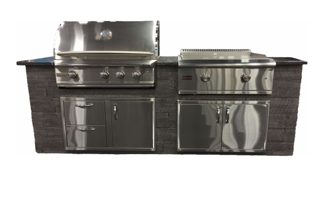 "TRU 8 ft. Island with 3 Burner Pro Propane Gas Grill, 30"" Propane Gas Griddle, Access Doors and Drawers"