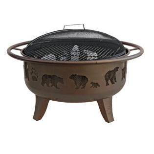 Landmann Patio Metallic Brown Firedance Bears Fire Pit