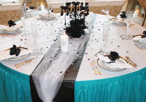 Wedding colors teal ideas and inspiration tableskirts for How to dress a wedding table