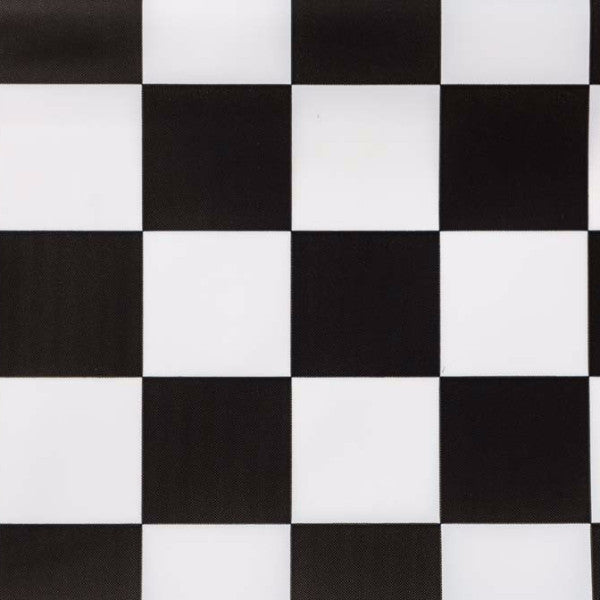 black checkered tablecloth