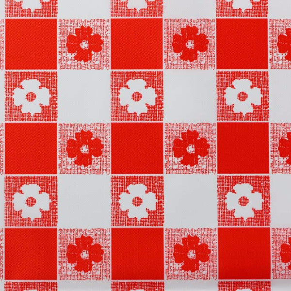 red gingham pattern tablecloth