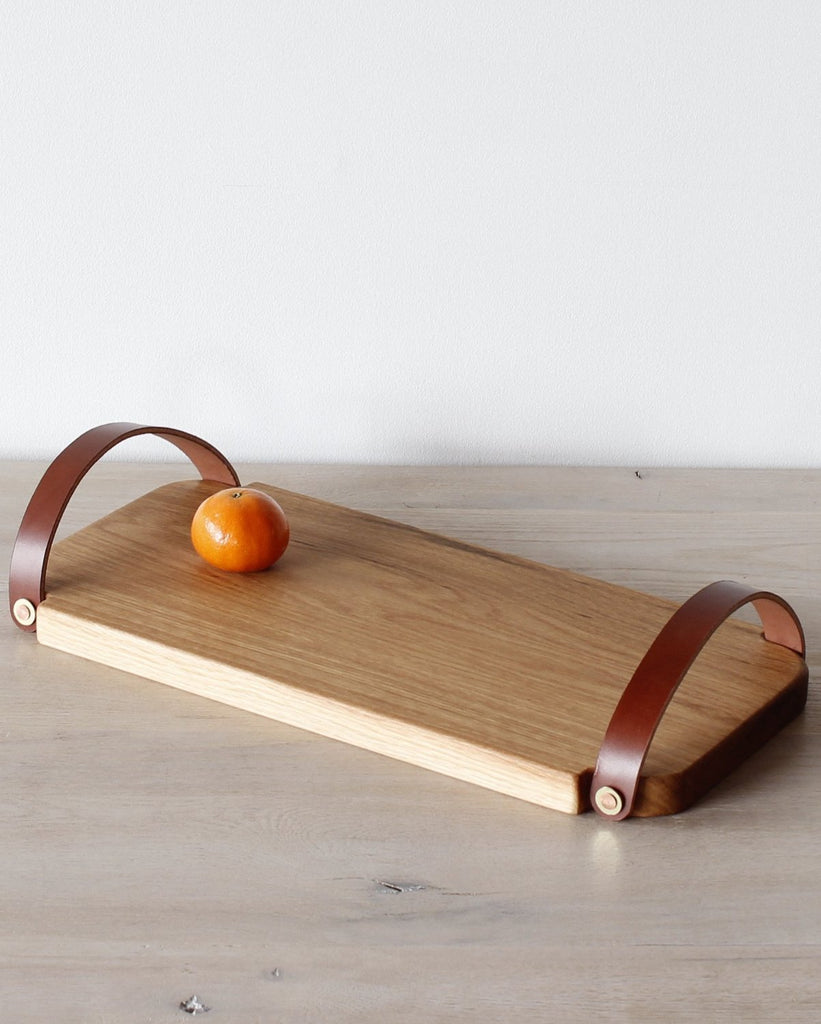 Lostine Fitler handle oak and leather serving tray