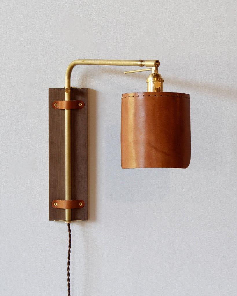 Ava wall sconce lostine ava leather wood brass wall sconce usa amipublicfo Images