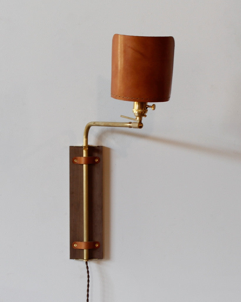 Ava Sconce by Lostine leather wood brass usa