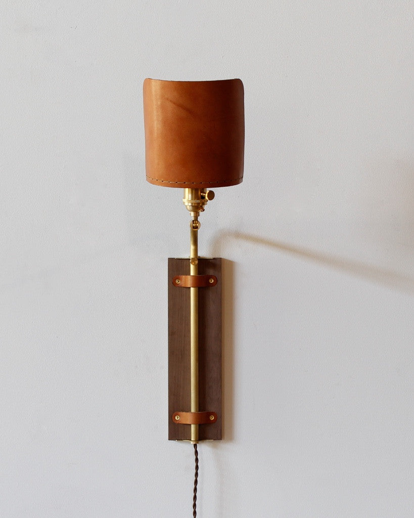Lositne Ava leather wood  brass wall sconce usa