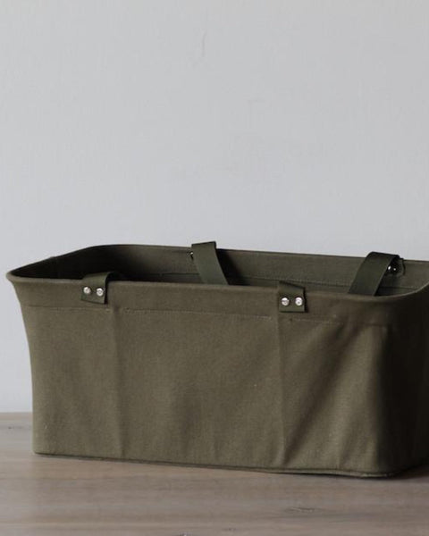 Olive Green Canvas Shopping Basket