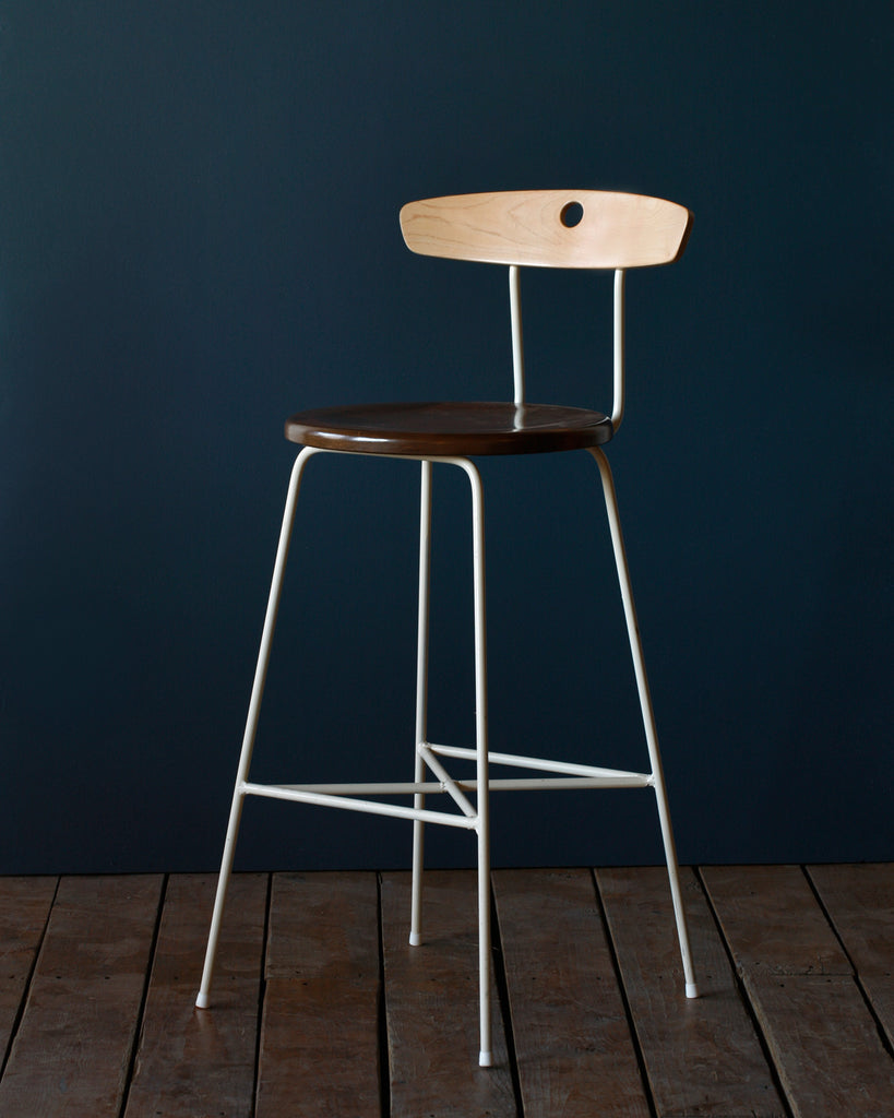 Lostine ana metal and wood cream stool