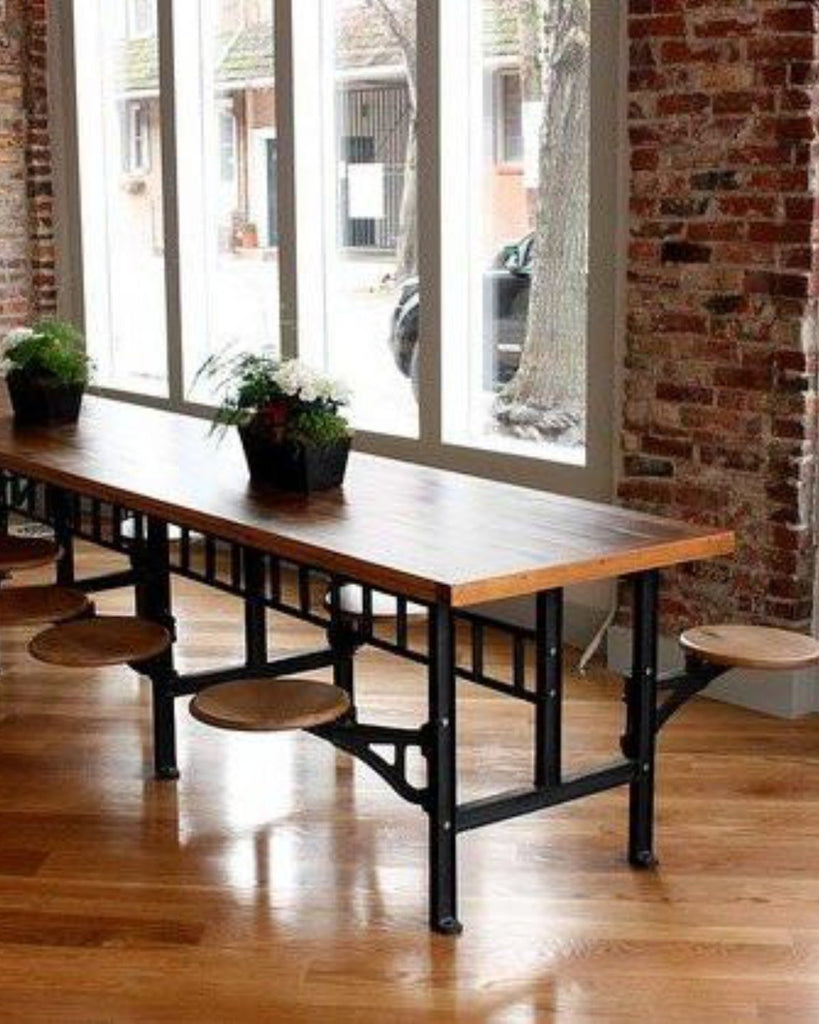cafeteria table vintage industrial style. Black Bedroom Furniture Sets. Home Design Ideas