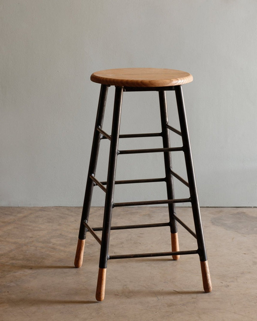 Lostine Gordon ladder stool oak and iron natural usa