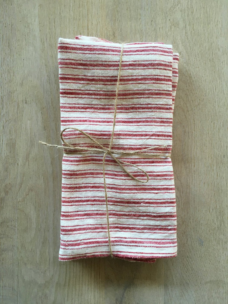 Red Boat Striped Linen Towels Set/2