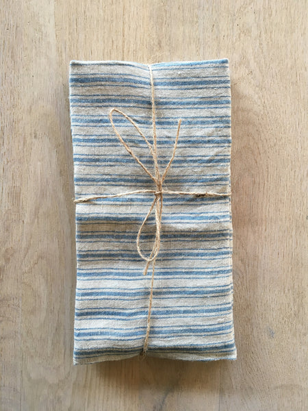Blue Boat Striped Linen Towels Set/2