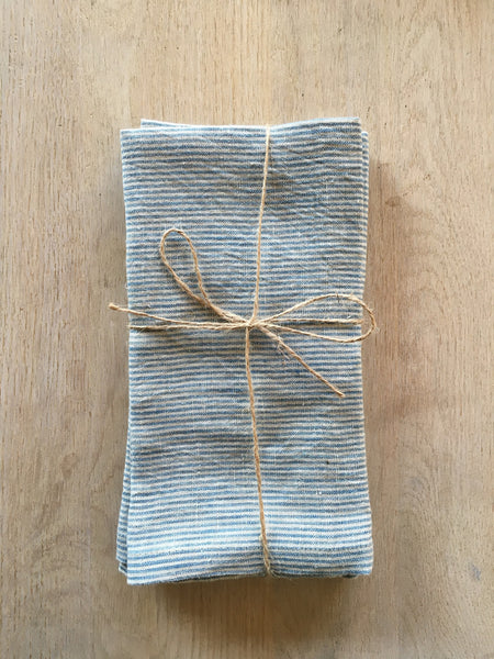 Blue Pica Striped Linen Towels Set/2
