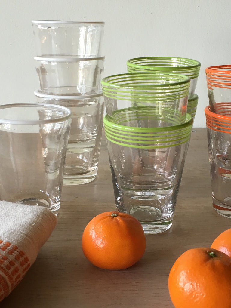 Orange Swirl Juice Glasses S/4