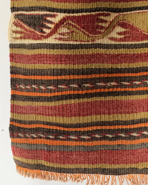 Lostine vintage turkish kilim rug earthtone stripes