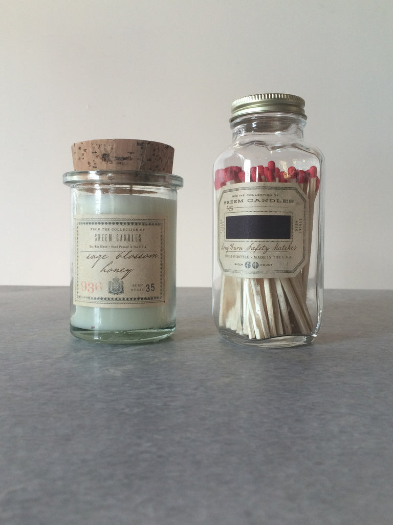 Sage blossom jar candle and jar of matches