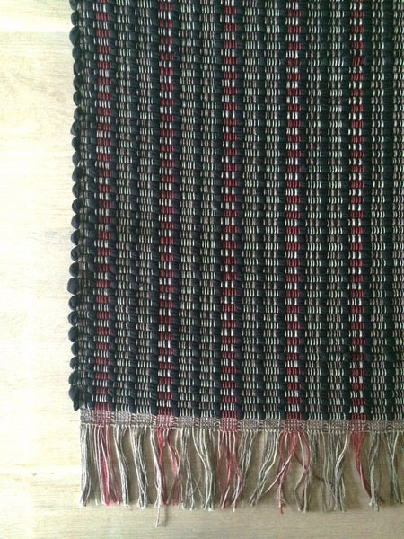Lostine hand loomed rag rug black and red