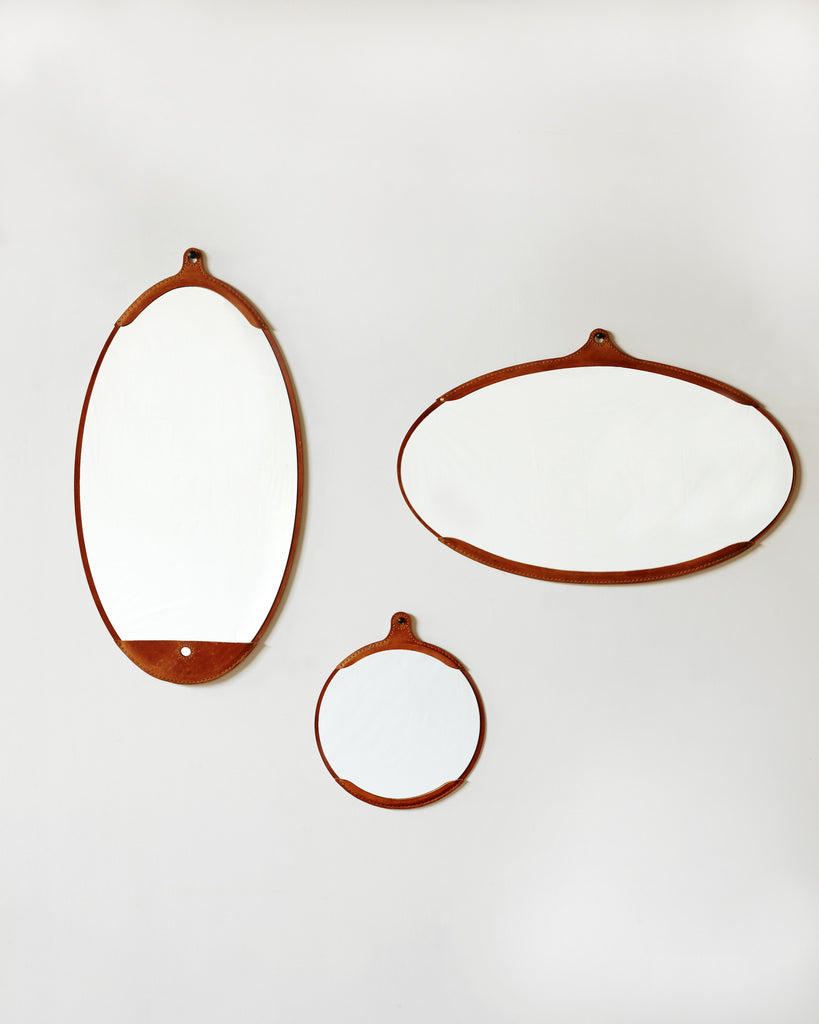 Fairmount Leather Round Mirror