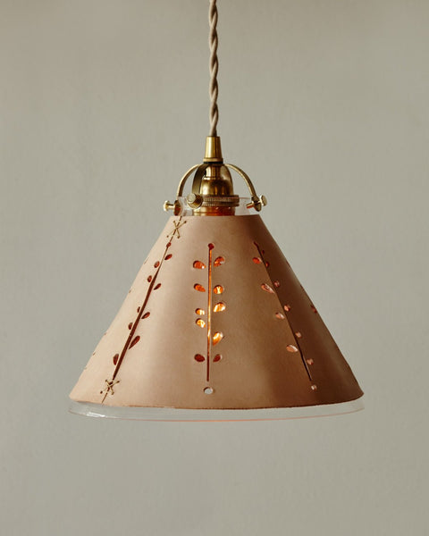 Lostine by Robert Ogden leather and glass pendant light