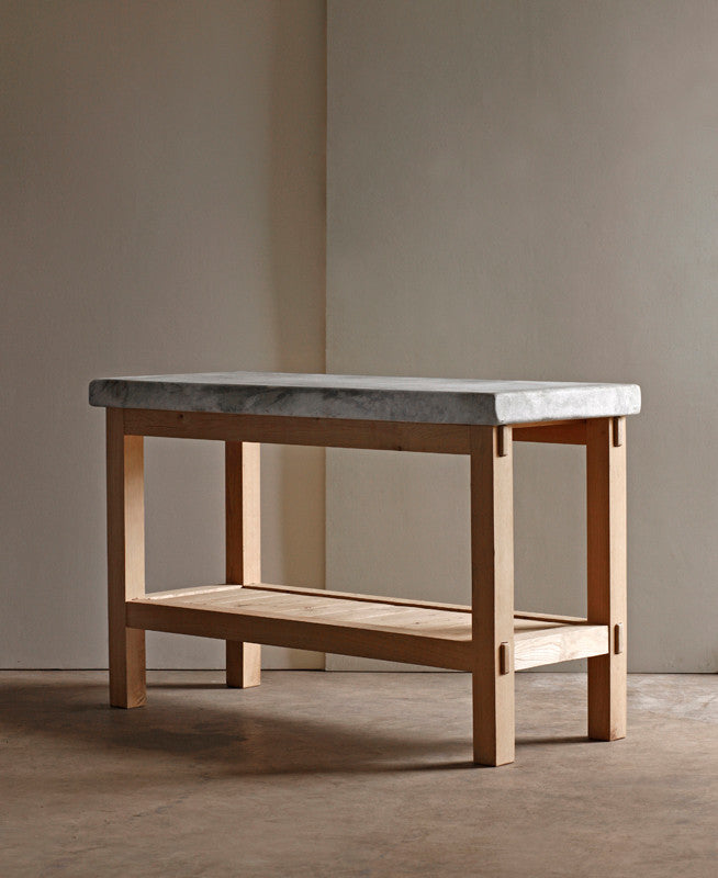 "Lostine 48"" marble and oak kitchen prep table"