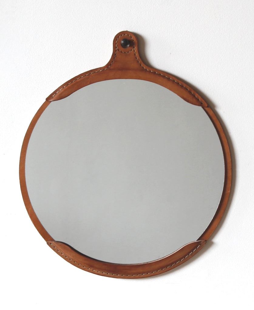 Lostine fairmount leather mirror round