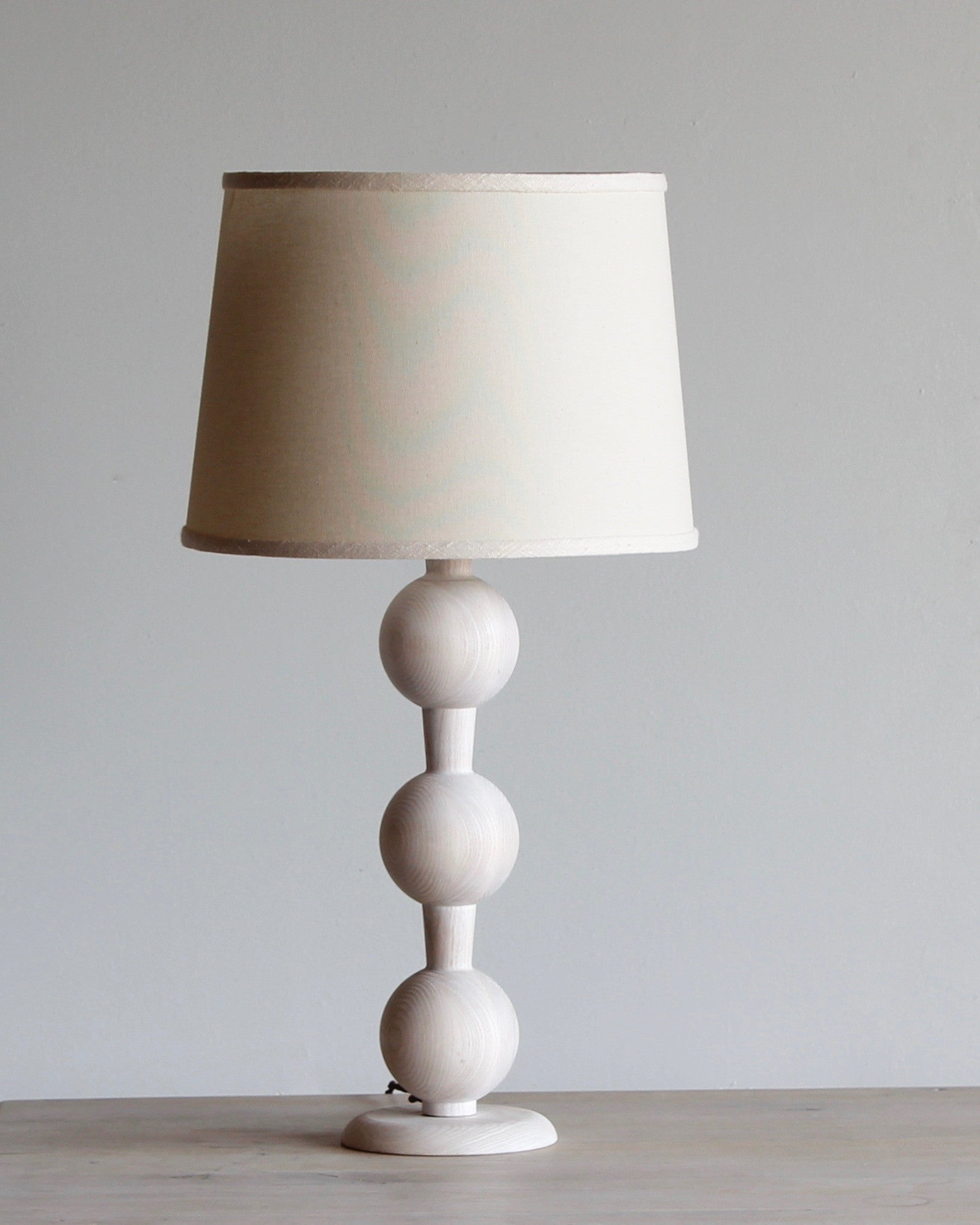 Hugo barbell wood table lamp lostine hugo wood table lamp dark wash finish white shade geotapseo Images
