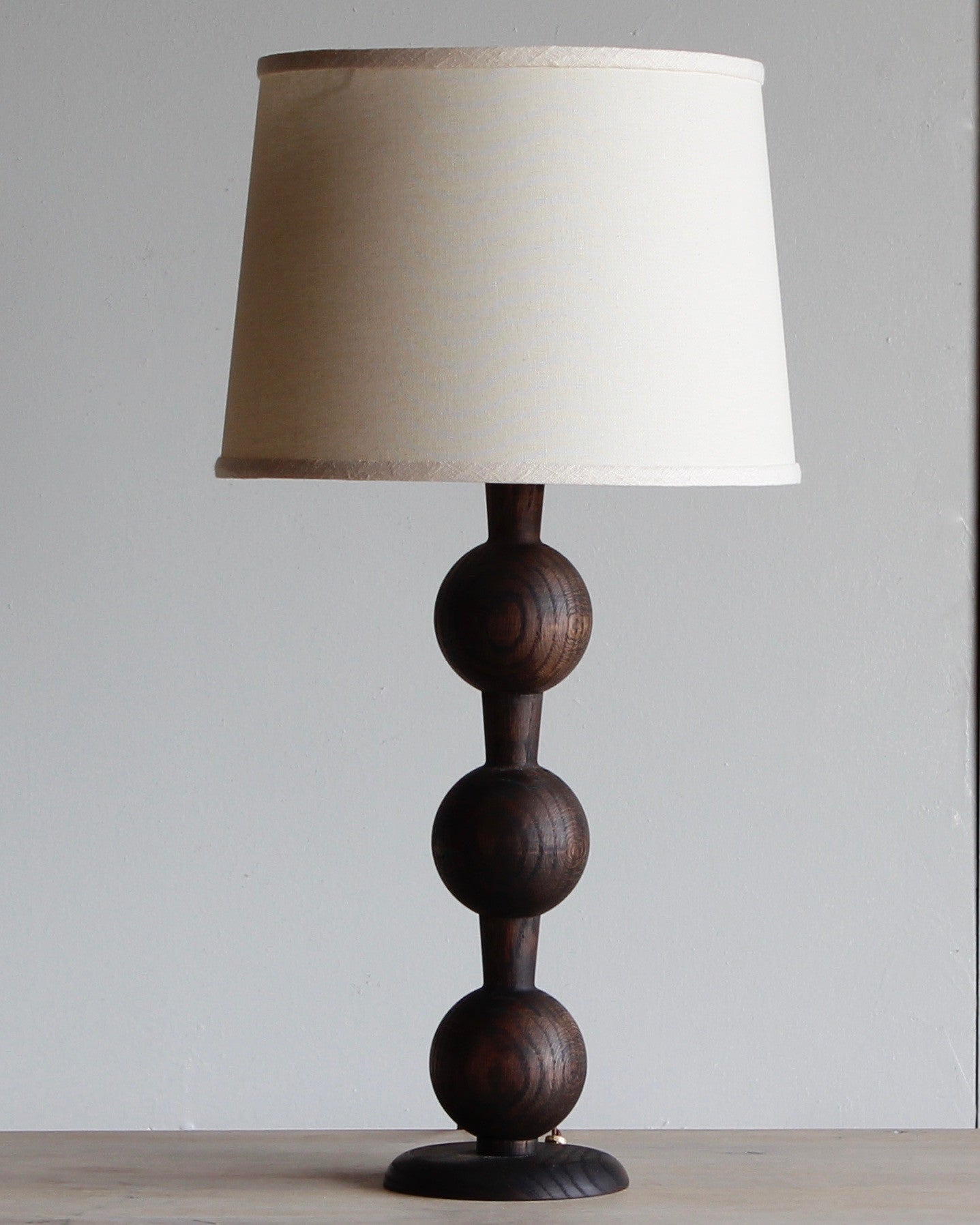 Hugo barbell wood table lamp lostine hugo wood table lamp dark wash finish ivory shade geotapseo Choice Image