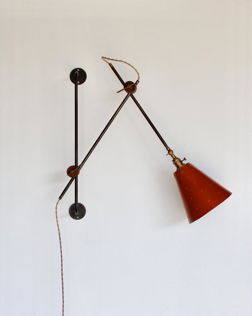lostine grace leather and iron adjustable wall lamp