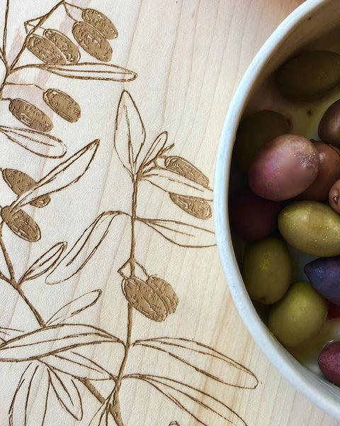 Lostine Awbury cutting board Detail of Olives etching