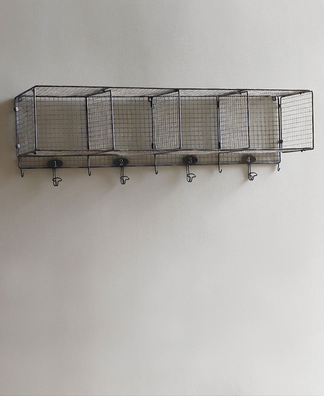 Lostine Storwell wire gym wall shelf with coat hooks