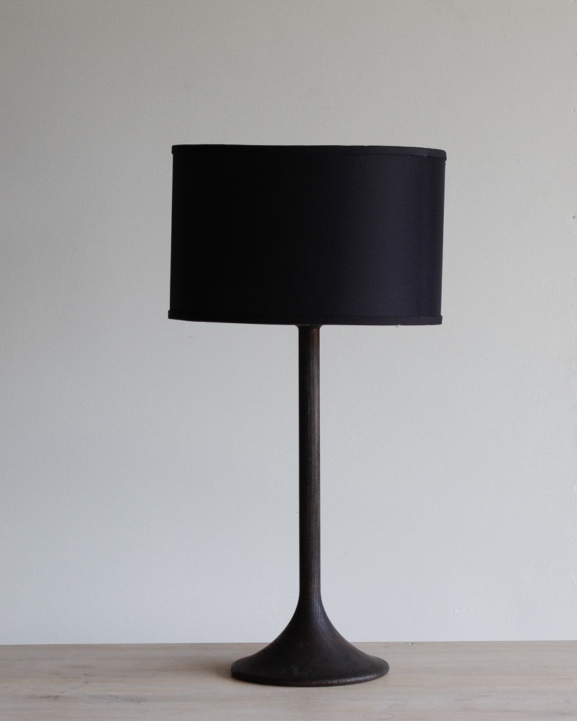 Black Wooden Trumpet Shape Lamp and Black Shade