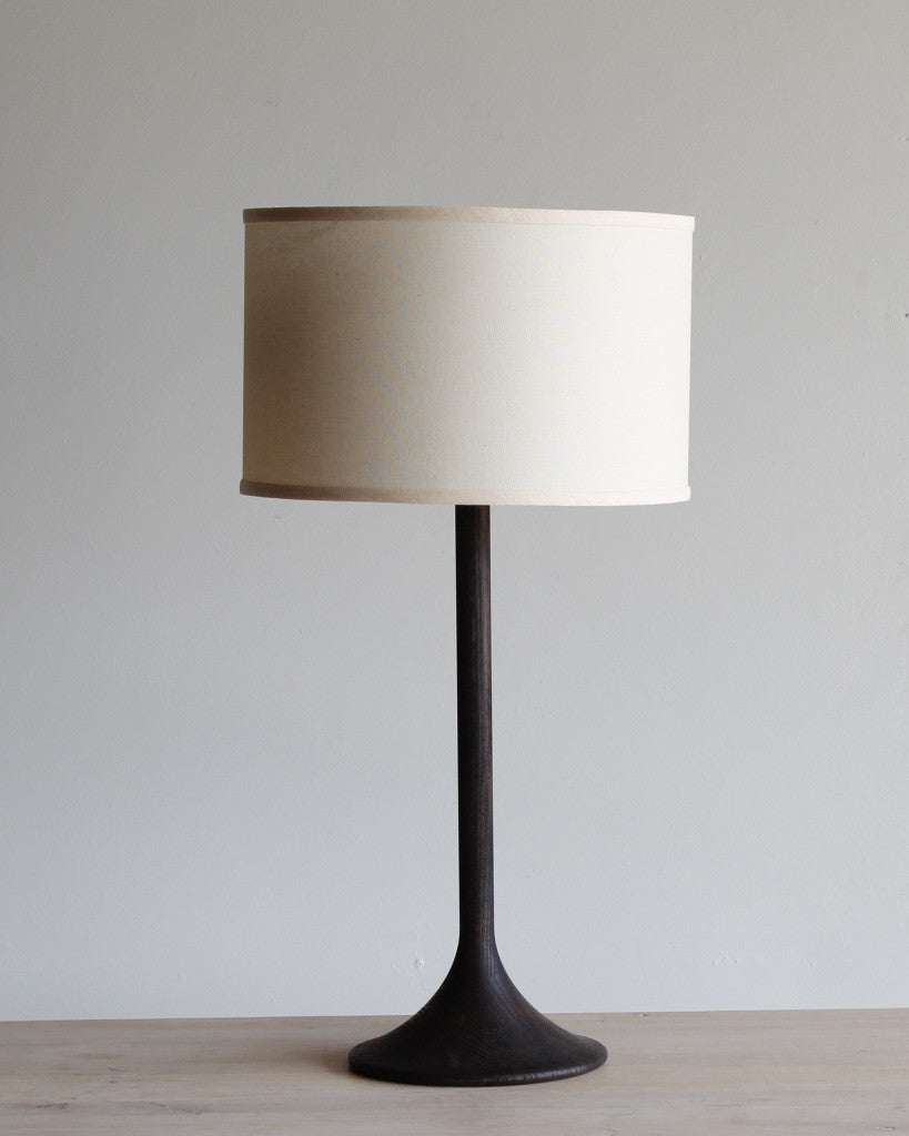 Wooden table lamp - dark finish with Ivory shade