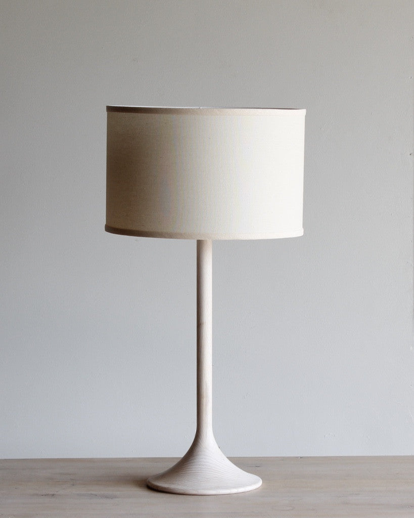 Lostine Table Lamp - White Trumpet with Ivory Shade