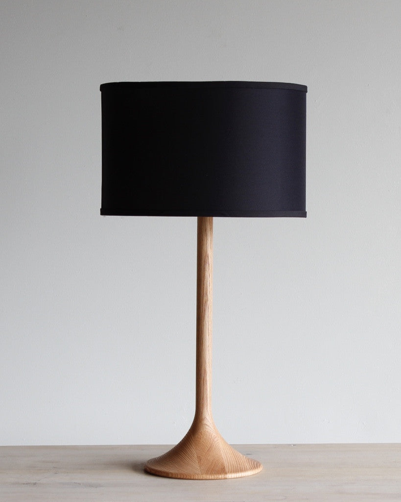 Lostine Table Lamp - Natural wood with Black Shade