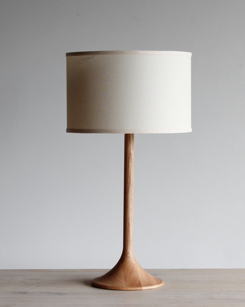 Wooden table lamp -natural finish with Ivory shade