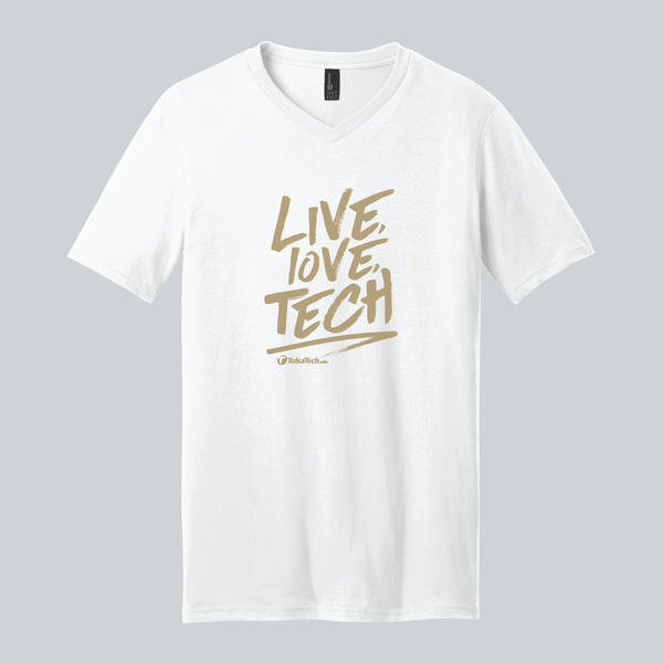 Live, Love, Tech V-Neck Tee (white with gold ink)