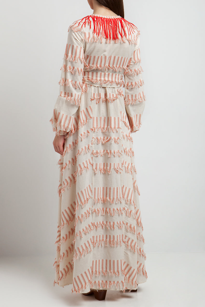 LACE Maxi Φόρεμα Με Κρόσια